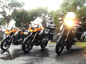 BMW motorbikes in the rain