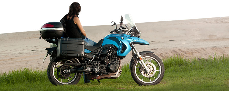 BMW GS motorbike at the beach